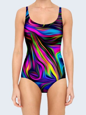 3D купальник Colored abstract swirl